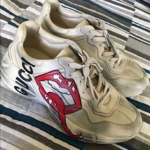 GUCCI RYTHON MOUTH LIPS SNEAKER SHOE 8 9 MENS